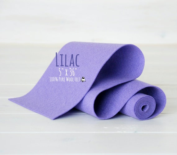 "100% Merino Wool Felt Roll - 5"" x 36""  Wool Felt Roll - Wool Felt Color Lilac-3120 - Pure Wool Felt - Pastel Purple Wool Felt - Lilac Color"