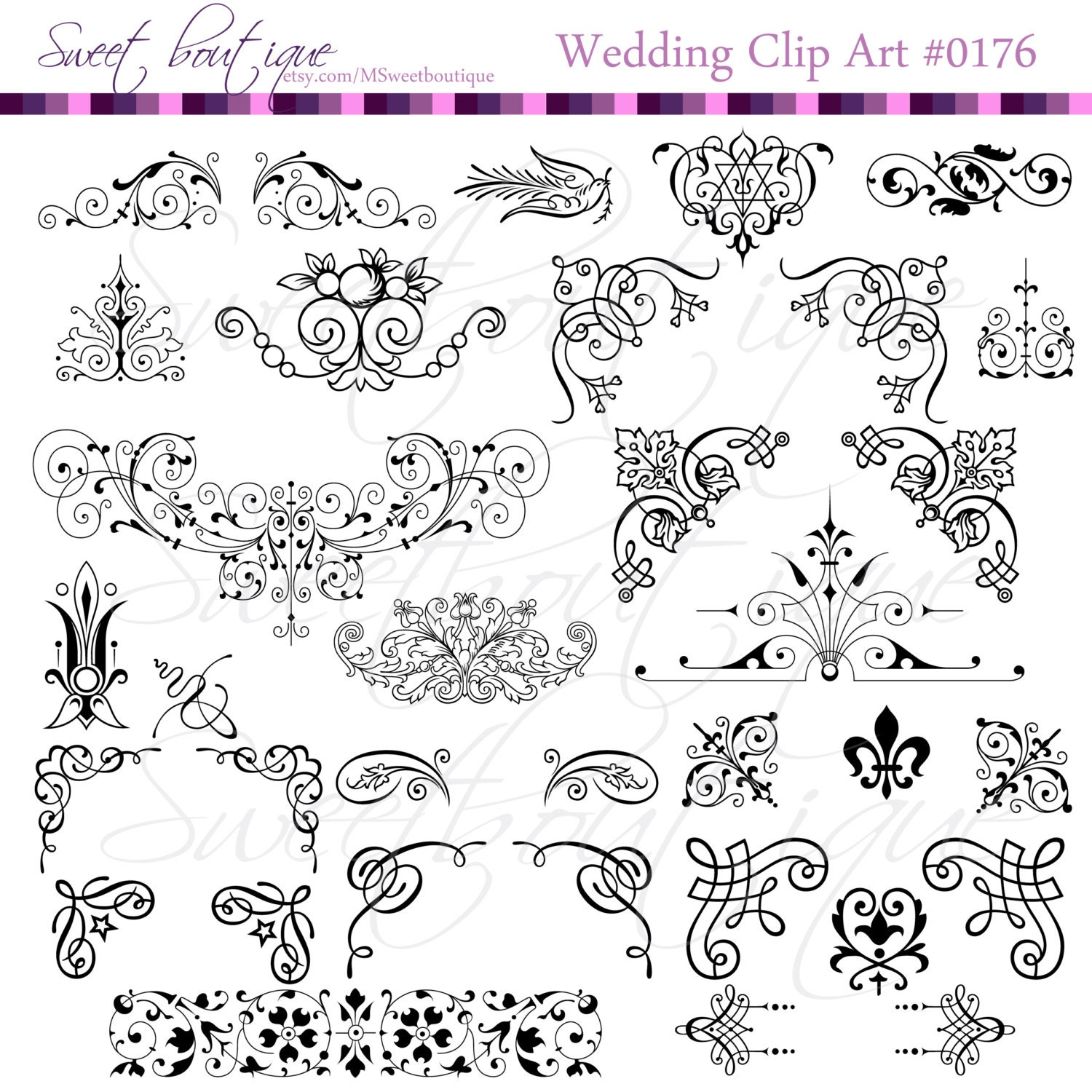 34 victorian frames clip art clipart with digital paper pack