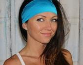 Yoga headband - Non-Slip headband - headband for Runners - Neon Blue headband - Manda Bees No Slip Headband -  CARIBBEAN