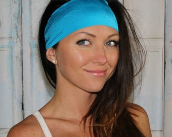 BEST EVER Yoga headband - NonSlip headband - Running Headbands - Neon Blue - Manda Bees No Slip Headband -  CARIBBEAN