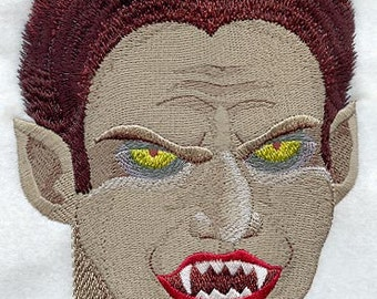 Vampire Head Embroidered on Made-to-Order Pillow Cover