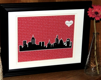 The Perfect Wedding Gift - Personalized Anniversary Gift - First Dance Song Lyric Art with 3D New York Skyline - 10x13 Frame Optional