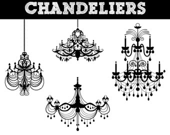 Chandelier Silhouettes // Lighting Silhouette // Commerical Use Clipart // Lights Silhouettes
