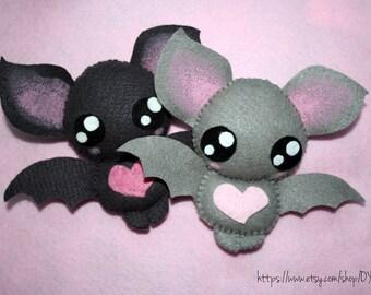 Cute bat felt plush (grey, violet or black)