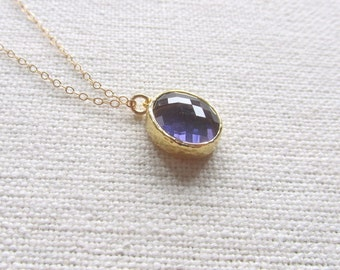 Purple Tanzanite Necklace February Birthstone 14k Gold Fill Chain, Modern Minimalist Jewelry,