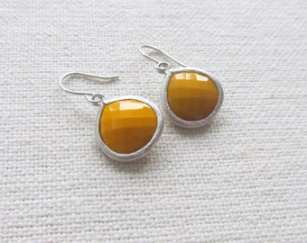 Mustard Yellow Earrings, Modern Silver Rhodium Dainty Glass Earrings, Bridal, Minimalist