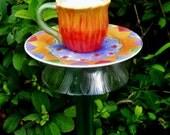 Sunflower Cup Garden Totem Stake, Birdfeeder, Herb Display, Garden Art