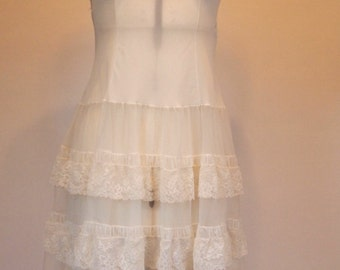 Vintage 1950s white cream lace and nylon slip petticoat with a 4 tiered skirt by San Paula