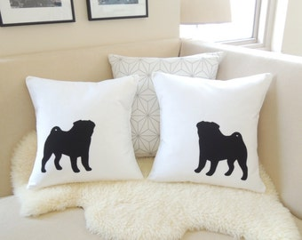 Pug Pillow Cover Pair