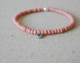 pale pink tiny lotus bracelet // Karen Hill Tribe floral flower lotus silver // yoga mala // handmade