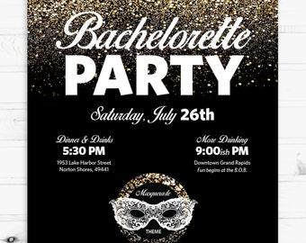 Masquerade Bachelorette Party 5x7 Invitation (Digital or Printed)