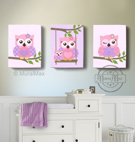 Owl art girls nursery decor wall art owl nursery art canvas - Girl owl decor ...