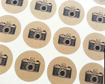30 Vintage Rustic Camera Round Stickers / Envelope Seals / Labels / Gift Embellishment / Kraft Circle Labels