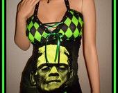 DIY GLOW In The DARK  Frankenstein Top Mini Dress Corset Universal Monsters Vampire Zombie