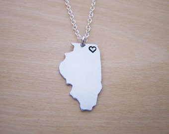 Hand Stamped Heart Illinois State Sterling Silver Necklace / Gift for Her