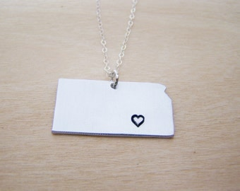Hand Stamped Heart Kansas State Sterling Silver Necklace / Gift for Her