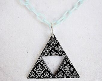 Acrylic Flower Triforce Necklace