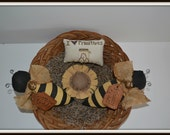 Grungy 4 piece Primitive Bees, sunflower prim pillow bowl filler tucks shelfsitter primitive decoration hand made