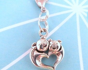 Hugging Pigs Heart Clip On Charm, Zipper Pull, Dust Plug, Lanyard, or Keychain - Vape Charm, Planner Charm, Purse Charm, Bag Charm