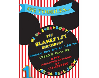 Mickey Mouse Oh Toodles Vertical Birthday Invitation - Custom Digital File