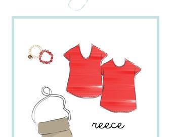 easy t-shirt pattern: Reece simple t pattern, PDF