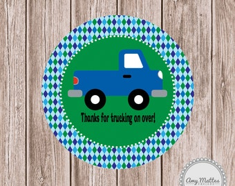 Blue Truck Boys Birthday Favor Tags or Stickers Printed for You