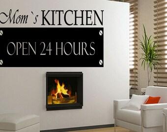 Mom's Kitchen Open 24 Hours Vinyl Sticker Kitchen Decor Stickers Wall Decal (468)