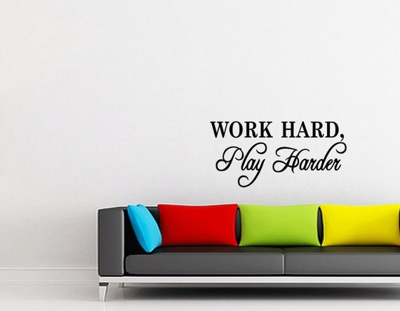 Wall Quotes Work hard play harder Vinyl Wall Decal Quote Removable Sports Wall Sticker Home Decor (119)