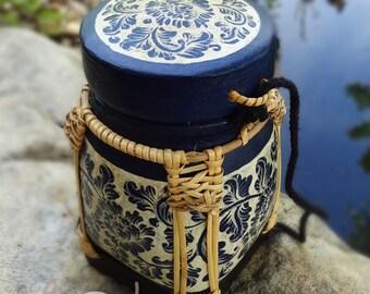 Hand Painted Bamboo Basket, Blue Basket, Small Basket, Rice Box, Tea Box, Coffee Box, Sugar Box, Small Wooden Box, Small Storage Box, Box