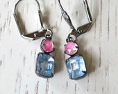 Pink Blue Rhinestone Earrings - Victorian Earrings - Black Patina - Dangle - Shabby Chic- Romantic - Wedding - Bridal Earrings