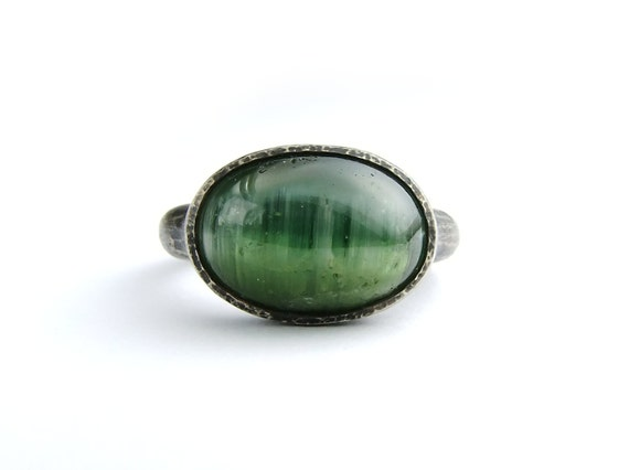 Green Tourmaline Cats Eye Silver Ring Green Gemstone Cab Ring Oxidized Sterling Jewel Ring Womens Engagement Ring Individual Size 6.5