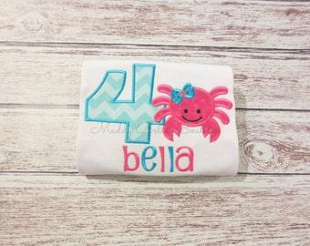 Summer Crab Birthday Appliqued Shirt - Embroidered, Personalized, Monogram, Birthday, Crab, Summer, Beach Birthday Shirt, Summer Crab Shirt