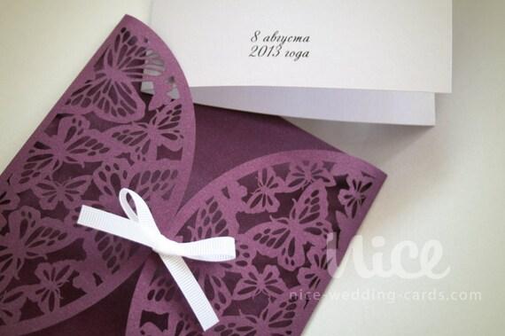 Wedding Butterfly Invitations: Digital .SVG File BUTTERFLY Wedding Invitation COVER