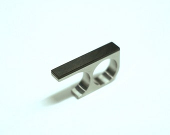 Titanium or Silver Two Finger Ring, Bauhaus Minimalist with Blackwood or Bakelite Strip