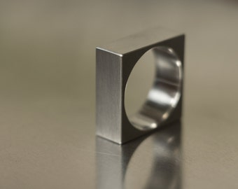 Titanium or Silver Square Ring Band, Minimalist, Bauhaus