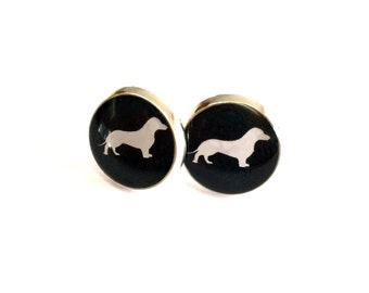Sausage Dog Resin Silver Post Earrings