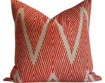 Lacefield Bali in Mandarin Pillow Cover - SAME Fabric BOTH Sides - Invisible Zipper - 18x18, 20x20, 22x22 and lumbar sizes -  pillow case