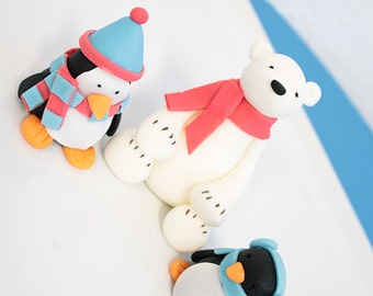 Fondant  Toppers 1 Penguin in hat, 1 Penguin in Earmuffs, 1 Polar Bear in scarf perfect for Christmas Holiday cupcakes