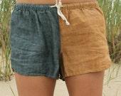 Linen Shorts > Denim / Gold Combo