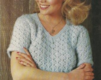 Misty Morning • 1980s Sweater Pattern • Vintage Crochet Patterns • Retro Beehive Misty 431 PDF