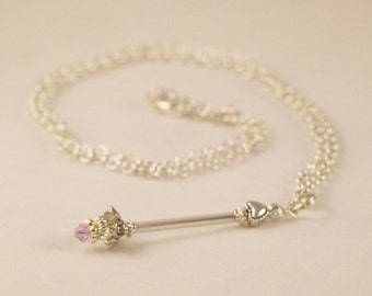 Miniature Wand Necklace, Swarovski, Fairy Party, Princess Party, Fairy, Princess, Magic Wand, Tooth Fairy, Party Favor, Miniature Wand