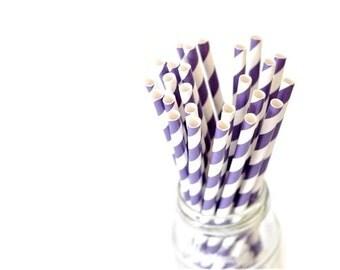 B20 Paper Straw. Striped. Deep Purple. White.