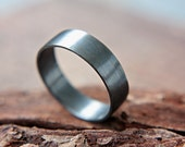 Dark Band Silver Oxidized Wedding Ring 6mm Sterling Handcrafted Silversmith Metalsmithed
