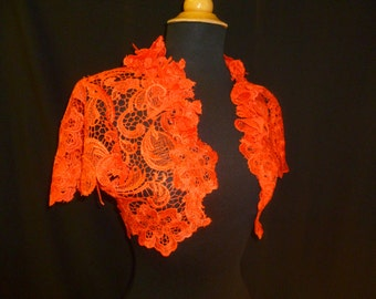Vermilion Red Guipure Bridal Lace Wedding Bolero Shrug