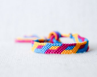 Friendship Bracelet Geometric Modern Bracelet Blue Yellow and Magenta Woven Bracelet