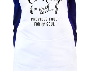 Cooking with love provides food for the soul, White bib kitchen apron, Kitchen apron for men and women, Personalized option, Gift idea for