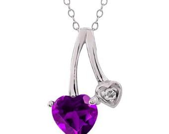 1 Ct Amethyst & Diamond Heart Pendant .925 Sterling Silver Rhodium Finish