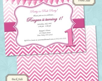 Pretty in Pink Girl Birthday Invitation - Printable Digital File (Print Your Own) - Pink Ombre Birthday Invitation