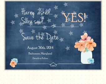 Save the Date Card. announcement, engagement, she said yes, navy blue, stars, wedding, invite, digital, printable, WSD1408