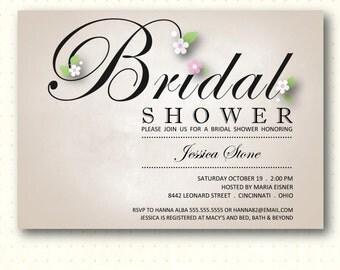 Bridal Shower Invitation, invite, bridal tea, luncheon, bridal brunch, champagne, elegant, simple, digital, printable, BW1465